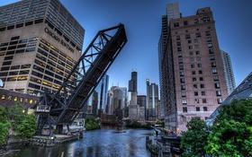 Обои мост, city, река, здания, вечер, USA, америка