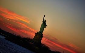 Картинка свобода, закат, город