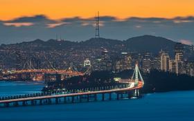 Обои оранжевое небо, Сан-Франциско, город, Bay Bridge, Соединенные Штаты, сумерки, Калифорния