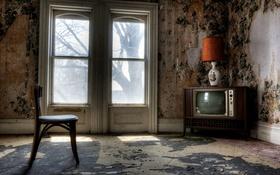 Обои комната, телевизор, стул