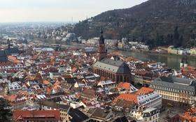 Картинка пейзаж, река, гора, дома, склон, германия, heidelberg