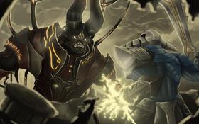 Обои fight, Dota 2, Sven, Doom Bringer