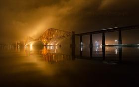Картинка огни, река, ночь, мост, туман