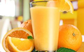 Обои апельсины, мята, дольки, апельсиновый сок