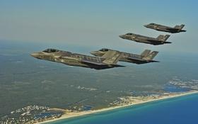 Картинка море, полет, земля, Lightning II, F-35A