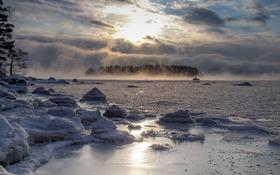 Обои зима, озеро, утро, туман