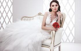 Картинка комната, букет, кресло, платье, невеста