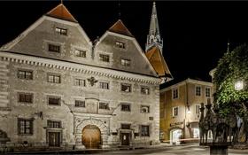 Обои ночь, огни, дома, Австрия, площадь, Штайр