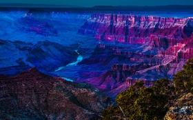 Обои небо, закат, река, каньон, ущелье
