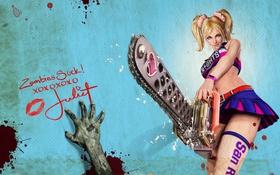 Обои девушка, рука, зомби, Lollipop Chainsaw