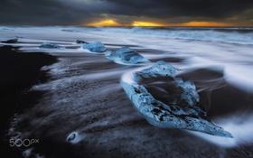 Обои море, пляж, океан, лёд, выдержка, льдины, потоки