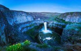 Обои пейзаж, горы, водопад