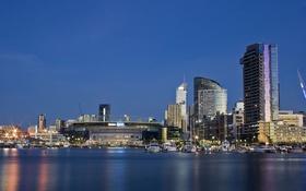 Обои море, небо, огни, дома, вечер, Melbourne, Australia