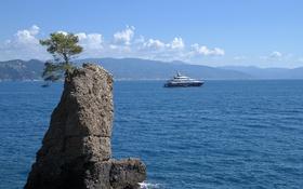 Картинка море, скала, яхта, Италия, Лигурия, залив Тигуллио