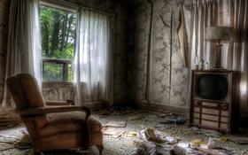 Обои комната, кресло, телевизор