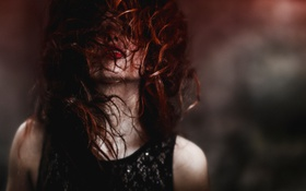 Картинка девушка, волосы, рыжая, шея