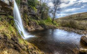Обои вода, скала, камни, водопад, мох, Великобритания, кусты