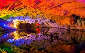 Картинка China, Reflections, Qiliang Cave