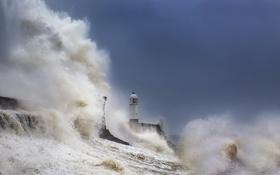 Обои море, шторм, маяк