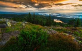 Обои закат, река, гора