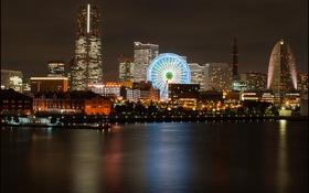 Картинка ночь, огни, Япония, Йокогама