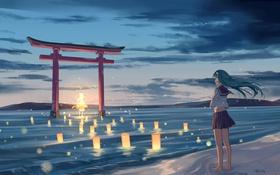 Картинка небо, девушка, облака, вечер, аниме, арт, фонарики
