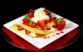 Обои ягоды, клубника, выпечка, творог, berries, блинчики, pancakes