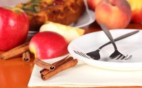 Обои яблоки, тарелка, корица, вилки