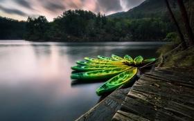Обои озеро, вечер, лодки