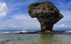 Обои небо, скала, океан, Taiwan