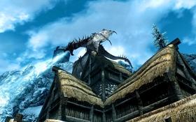 Обои крыша, The Elder Scrolls V Skyrim, лед, горы, дом, дракон