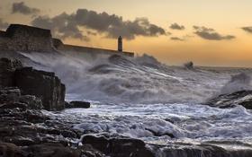 Обои маяк, море, волны, ночь