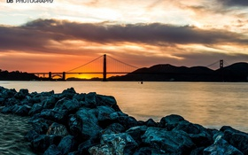 Обои закат, USA, река, небо, San Francisco, Sunset, Golden Gate