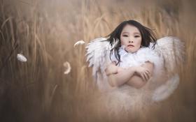 Картинка девочка, фон, ангел