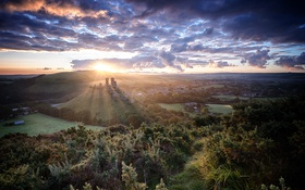 Обои Sunrise, Corfe Castle, blue hour, dorset