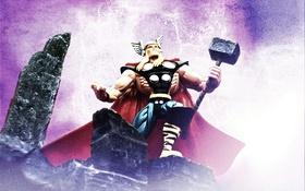 Обои Thor, Marvel, молоток, молнии
