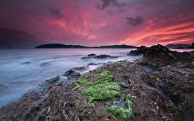 Картинка закат, пейзаж, пляж, побережье, океан