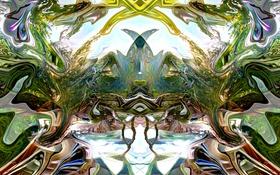 Обои свет, фрактал, узор, симметрия, цвет