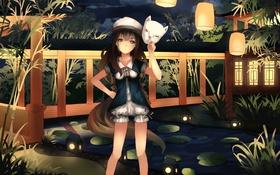 Обои небо, девушка, облака, ночь, мост, аниме, маска