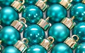 Обои шарики, отражение, праздник, шары, блеск, новый год, бирюзовый