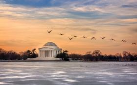 Обои Sunrise, Jefferson Memorial, Washington