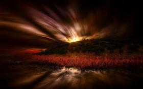 Картинка ночь, река, берег