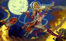 Картинка ночь, луна, ракеты, lol, league of legends, Jinx