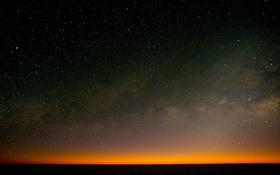 Обои небо, звезды, горизонт, сумерки