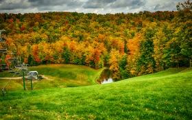 Обои осень, лес, трава, листья, холмы, подъемник