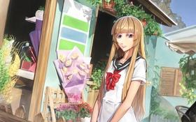 Картинка девушка, цветы, розы, букет, аниме, арт, форма