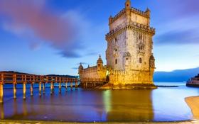 Обои море, пейзаж, Португалия, архитектура, Лиссабон, башня Белен