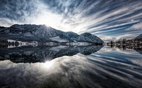 Обои Sunrise, Austria, Alps, Panorama, Reflection, Grundlsee
