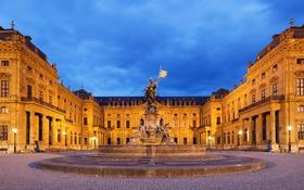 Обои ночь, Германия, Бавария, площадь, фонтан, скульптура, Вюрцбург