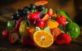 Обои апельсин, клубника, лайм, фрукты